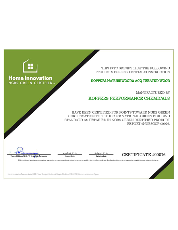 ACQ Treated Wood Certificate